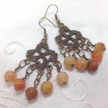 Agate Earthy Beaded Chandelier Earrings - Antiqued bronze swirls