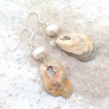 Natural shell and freshwater pearl dangle earrings