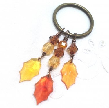 Autumn Leaf Key chain Large Ring in antiqued brass for Fall