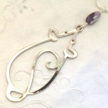 Large Mouse Key Ring with Amethyst Bead