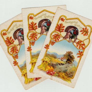 Thanksgiving Greetings - Three Vintage Postcards - 1910  A.S. Meeker NY - Not used