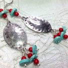 Turquoise Blue Dangle Earrings - Silver Plated Boho Southwest
