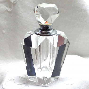 Perfume Bottle - Cut glass - Decorative and Usable for Scent - Clear Glass