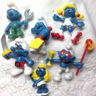 Smurfs Smurfettes 6 Peyo Bully Schleich Pirate Shovel Drinking Roller Skating Wrench W Germany 80s