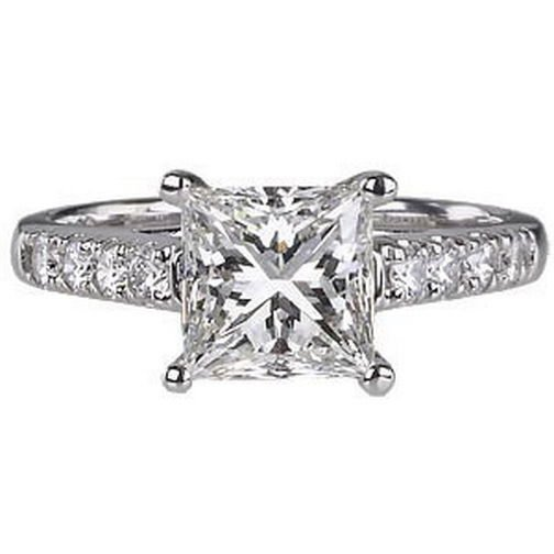 F/SI 0.45Carat Princess & Round Cut Diamonds Engagement Ring,9k Gold,Size M