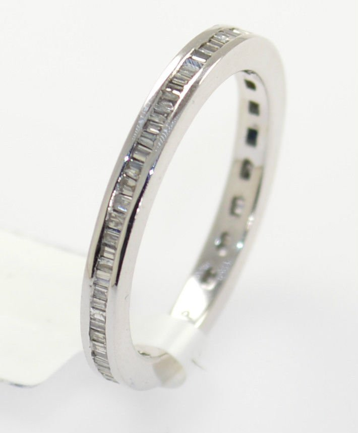 0.50 Carat Baguette Cut Diamonds Full Eternity Wedding Ring in 9K White Gold