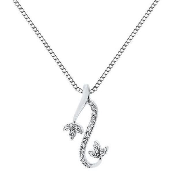 """0.16ct F/VS Round Brilliant Cut Diamond Pendant & 16""""Chain in 18carat White Gold"""