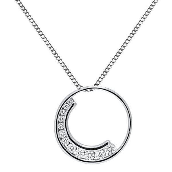 """0.50ct F/VS Round Brilliant Cut Diamond Pendant & 16"""" Chain in 18k White Gold"""
