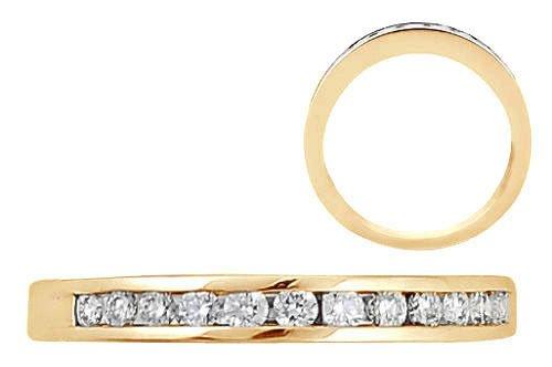 0.12ct Round Diamonds Half Eternity 18k Yellow Gold Wedding Ring,UK Hallmarked