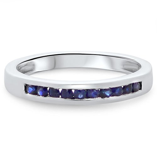 0.30ct Blue Sapphire Half Eternity Wedding Ring in 9k White Gold,UK Hallmarked