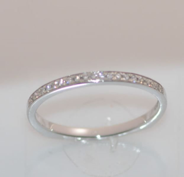 0.10ct Unique Shaped Round Diamond Half Eternity Wedding Ring in18k White Gold