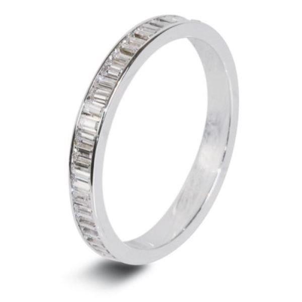 0.22ct Baguette Cut Diamond Half Eternity Wedding Ring,18k White Gold,Width 2mm