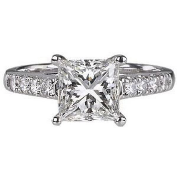 E-F/SI PRINCESS CUT SOLITAIRE & ROUND DIAMONDS ENGAGEMENT RING,WHITE GOLD,EGL
