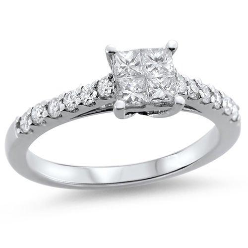 18k White Gold  E-F/SI  0.70 ct Princess Cut & Round Diamonds Engagement Ring