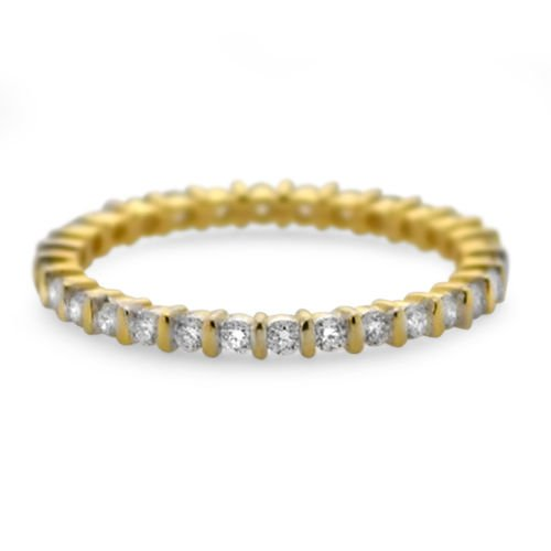 9k Yellow Gold G/SI 0.52 ct Round Diamonds Full Eternity Wedding Ring
