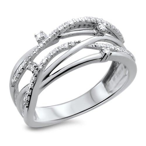 0.21ct Round Brilliant Cut Diamonds Contemporary design Ring in 18K White Gold