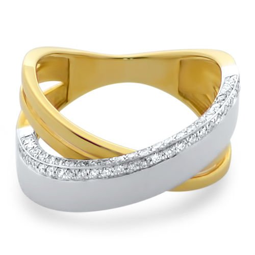 11.5mm VS 0.25 carat Diamond Cross Over Half Eternity Ring,18K Solid Yellow Gold