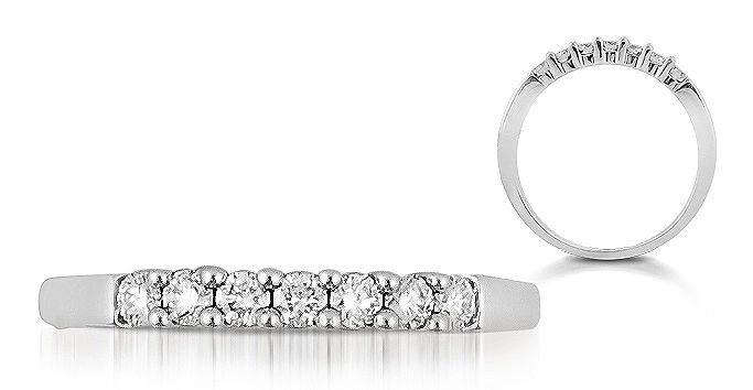 7 Round Diamonds 0.24carat Half Eternity Wedding Ring,18K Solid White Gold