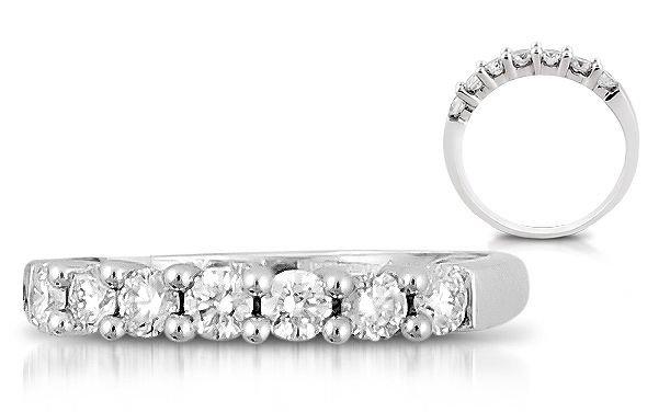 F/VS 7 Round Diamonds 0.48carat Half Eternity Wedding Ring,18K Solid White Gold