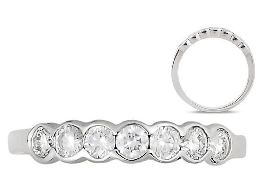 0.50 Bezel Set 7 Round Diamonds Half Eternity Wedding Ring,18K Solid White Gold