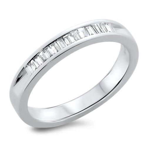 0.32ct Baguette Cut Diamonds Channel Set Half Eternity Ring in 18k White Gold