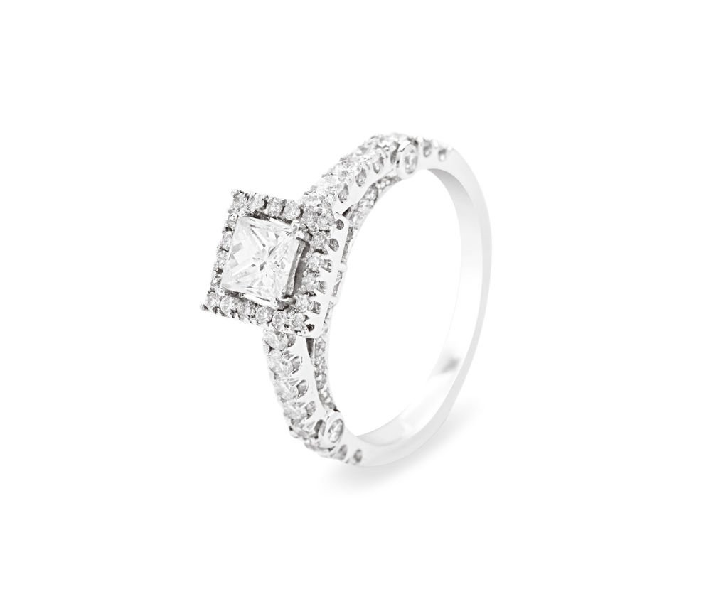 9k White Gold,1.20carat Princess Cut Solitaire & Round Diamonds Engagement Ring