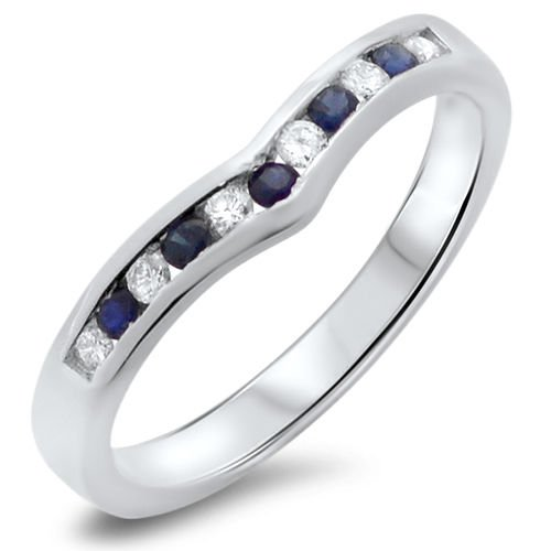 0.23ct Blue Sapphire & Diamonds Wishbone Half Eternity Ring,9k White Gold,Size M