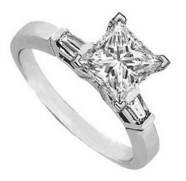 0.45 CT PRINCESS & BAGUETTE CUT DIAMOND ENGAGEMENT RING,950 PLATINUM HALLMARKED