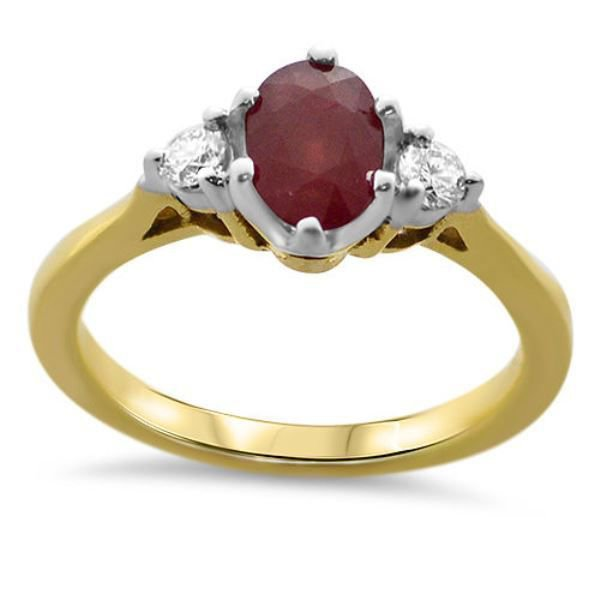 1.27ct REAL DIAMOND & RUBY ENGAGEMENT RING IN 18K YELLOW GOLD from finediamondsrus