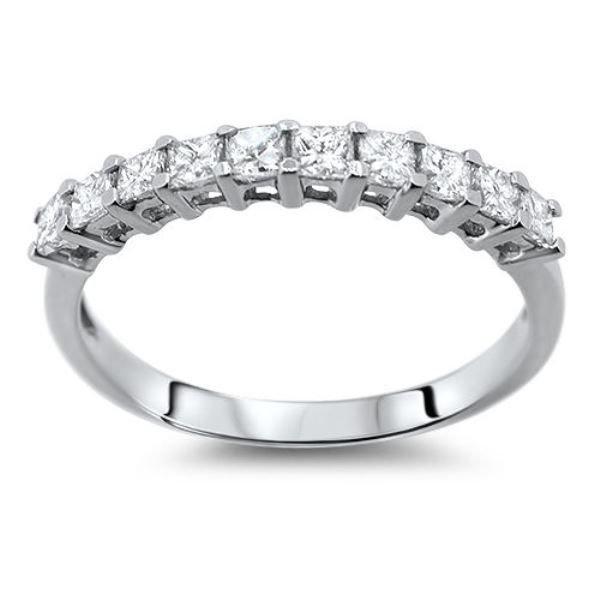 0.50CT PRINCESS CUT DIAMOND HALF ETERNITY RING,950 PLATINUM,WIDTH 2.7mm from finediamondsrus