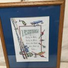 Completed FINISHED Cross stitch Handmade FISHING LURES Matted Framed POLES REELS