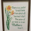 MOTHER'S HEART Proverb Completed FINISHED Cross stitch Narcissus Framed