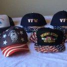 7 VTG strap SNAP BACK hat Cap VFW War Veteran DESERT STORM Convention FL,TN PINS