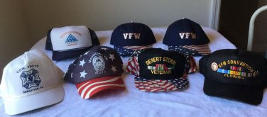 7 VTG strap SNAP BACK hat Cap VFW War Veteran DESERT STORM Convention FL,TN PINS