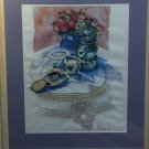Watercolor Crewel TEA BLUE CHINA Completed FINISHED Cross stitch Embriodery Lace