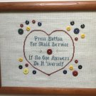 BUTTON 4 MAID Complete FINISHED Cross stitch Embriodery FRAMED PRIMITIVE Country