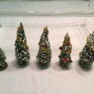 Vtg PUTZ Christmas BOTTLE BRUSH EVERGREEN TREES MICA FLOCKED VILLAGE TRAIN DECOR