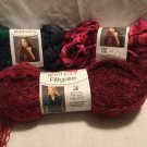New LOT 3x SKEINS Red Heart FILIGREE RIBBONS Yarn BOUTIQUE SCARF FREE SHIPPING