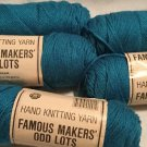 VTG Lot of 5 TURQUOISE TEAL Famous Makers Odd Lots by Caron 3 oz Skeins Acylic