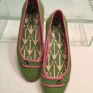 Sperry Top-Sider Pink Green White Canvas Ballet Flats Boat Shoes Size 7 M EUC