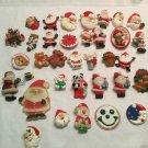33x Vintage Hallmark 60s-90s Holiday CHRISTMAS Lapel Pin SANTA CLAUS LOT
