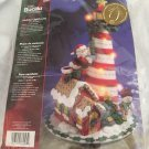 HOLIDAY LIGHTHOUSE Bucilla SANTA CHRISTMAS jewelled FELT rare Applique KIT 86057