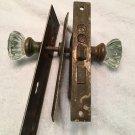 Vintage Art Deco RUSSWIN Mortise Door Lock Set, Matching 12 pt. Crystal Doorknob