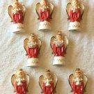 8 pc Vintage JAPAN Christmas 1950 ANGELS SET Ceramic Gold Trim Wings Choir Pray