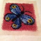 "New Wonderart LATCH HOOK Finished MOD BLUE BUTTERFLY 12"" sq PILLOW top WALL HANG"