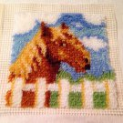 """New Wonderart LATCH HOOK Finished HORSE PONY FENCE SCENE 12"""" sq PILLOW top WALL"""