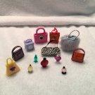 RETIRED American Girl Illumna Room HIP HANDBAGS set mini PURSES and PERFUME lot