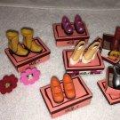 100% COMPLETE American Girl Illumna Room FANCY FOOTWEAR AG mini + 3 DECOR Frames