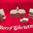 1992 Discontinued LENOX HOLIDAY VILLAGE lot 4 pcs WHITE Van STORE Station HOUSE