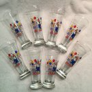 8x Vintage Anheuser-Busch SPUDS MACKENZIE Bud Light Beer Glass 1987 Party Animal